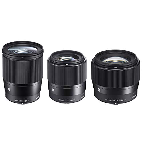 Sigma Contemporary Lens Bundle Includes Sigma 16mm f/1.4 DC DN - 30mm f/1.4 DC DN - Sigma 56mm f/1.4 DC DN for Sony E-Mount Cameras, Black - with Sigma Soft Padded Lens Case, Holds 3 Lenses