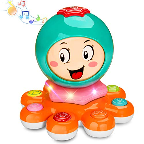 BeebeeRun Octopus Musical Toys for Toddlers, Electronic Kids Musical Instruments Learning Light Up Toy, Infant Early Educational Development Music Toys for Kids and Babies