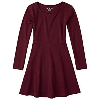 The Children s Place Girls  Big Solid Long Sleeve Pleated Knit Dress Rubine M  7/8