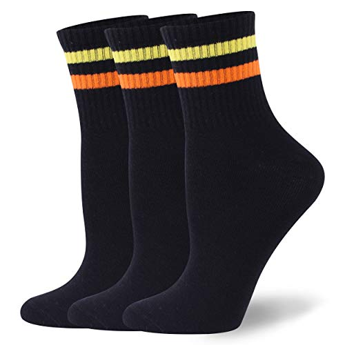 Soccer Stripe Socks,WXXM Girls Daily Stripe Casual Ankle Socks Soft Vintage College Style Stretchy Novelty Crew Socks,3 Pairs Black+Yellow & Orange Stripe