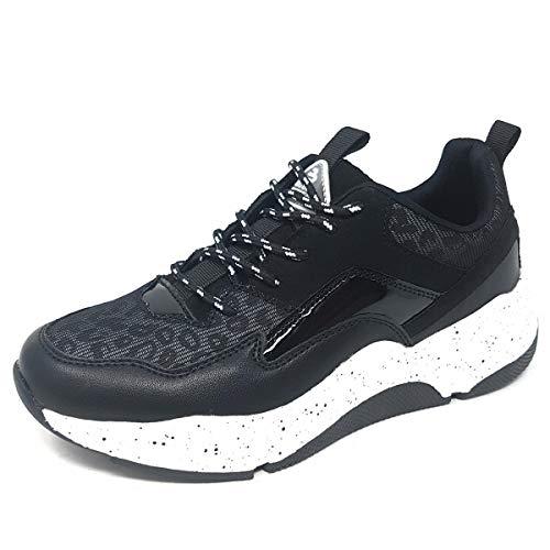 BULLBOXER Damen Low Top Sneaker, Frauen Halbschuh,Strassenschuh,Schnürschuh,Sportschuh,Wedge-Sneaker,Keil-Absatz,Freizeit,Schwarz,41 EU / 7.5 UK