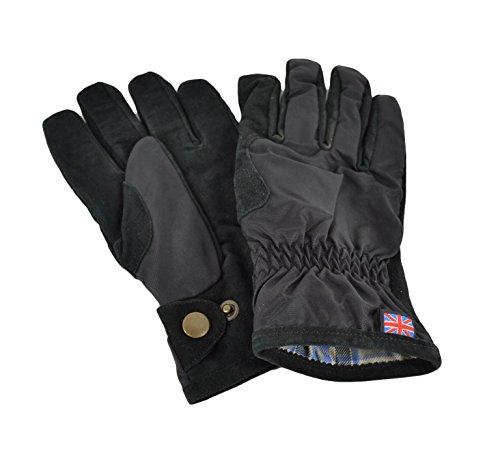 Belstaff Wildleder-Handschuhe + Nylon schwarz, Schwarz XS