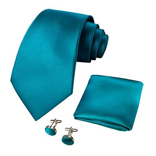 CANGRON Hombres Juego de corbata verde azulado Corbata con caja de regalo para gemelos cuadrados de bolsillo DLSC8LL