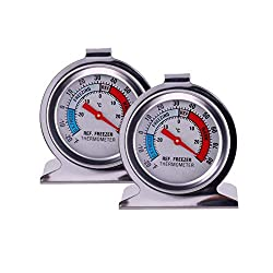 Image of JSDOIN Freezer Refrigerator Refrigerator Thermometers Large Dial Thermometer 2 Pack (2 PACK): Bestviewsreviews