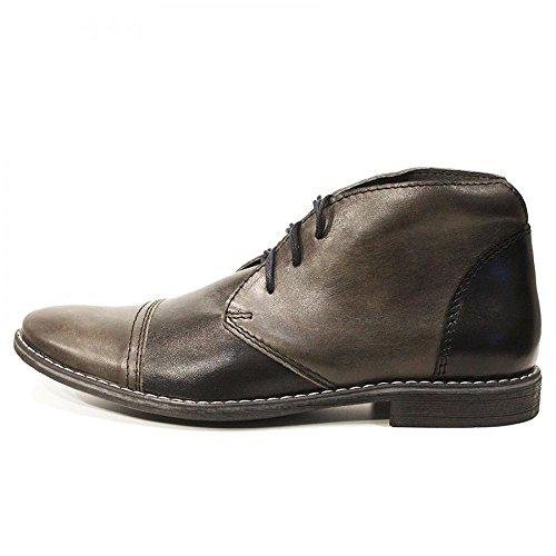 PeppeShoes Modello Dario - EU 44 - US 11 - UK 10-29 cm - Handgemachtes Italienisch Bunte Herrenschuhe Lederschuhe Herren Grau Stiefeletten Chukka Stiefel - Rindsleder Weiches Leder - Schnüren