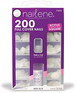 Nailene 200 Full Cover Nails Active Square With Glue by Nailene