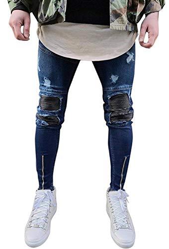 Minetom Uomo Jeans Pantaloni Cuciture Fit Distrutto Pantaloni Denim alla Moda con Cerniera Skinny Pants Jeans Strappati (S, Blu Scuro)