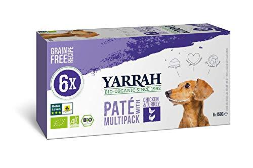 Yarrah Bio Hundefutter Multi Pack Pastete Mit Huhn und Truthahn - 6 x 150 gr - Geeignet für Hunde Aller Rassen und Altersgruppen - Getreidefrei