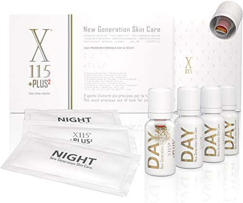 X115®+Plus | COLLAGENE + ACIDO IALURONICO | Antirughe | Pelle e Articolazioni | Collagene Marino Idrolizzato da Bere | Vitamina C, Resveratrolo, Coenzima Q10, Antiossidanti | Day & Night