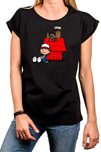 MAKAYA Camiseta Friki para Mujer Talla Grande - Dustin Demorgogon T-Shirt Stranger Things Top Chica Negra Regalos Originales M
