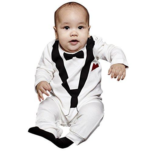YOUJIA Smoking pour Bébé de 0 à 24 Mois avec Imprimé Nœud Papillon Romper Bodysuit Blanc(Hauteur 70CM)