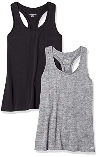 Amazon Essentials Women's 2-Pack Tech Stretch Racerback Tank Top, Black Space Dye/Black, Medium