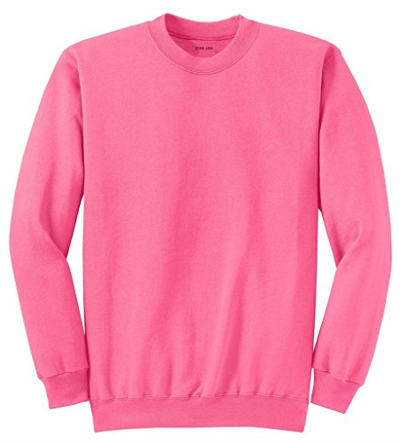 Joe's USA Adult Classic Crewneck Sweatshirt, M -Neon Pink