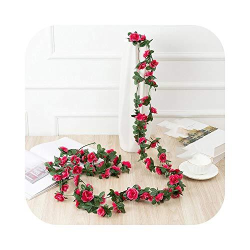 LiuFa5 ssss33332pcs 2.2m 45heads Fake Rose Vine Garland Artificial Flowers Plants Hanging for Wedding Home House Party Garden Craft Art Decor-Rose red-