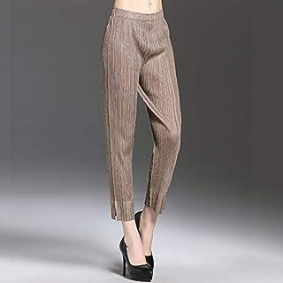 para Obtener Hermosas Pantalones Ajustados LCE Doblez Estiramiento Delgado de Nueve Puntos Lápiz Pies Polainas (Color : Kh...
