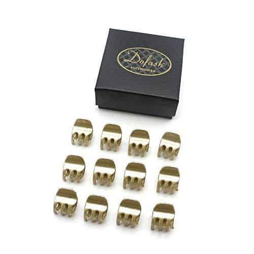 Dofash 12個ゴールド ミニバンスクリップ、ミニヘアクロークリップ プラスチック 1.8CM ヘアクリップ ギフトボックス付き 女の子のためと子供用
