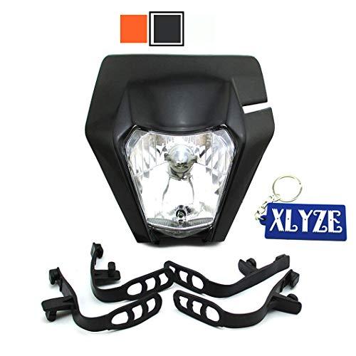 XLYZE Motorrad Scheinwerfer für EXC XCF XCW EXCF SX-F EXC F W SX SXF 125 250 300 450 500 530 Schwarz