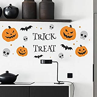 Holly LifePro Pumpkin Bat Spider Web Party Supplies Happy Halloween Trick Or Treat Removable Decal Wall Sticker for Bar Li...
