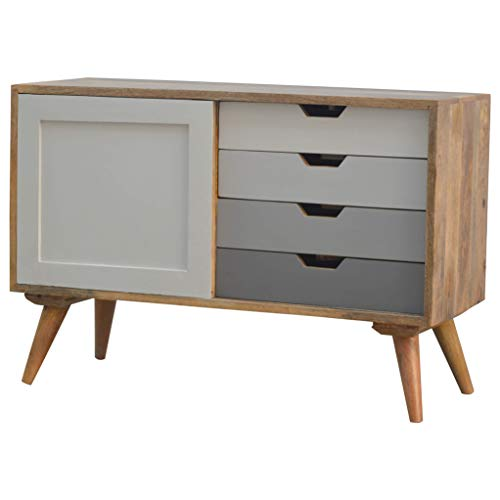 Roseland Furniture Artisan Nordic 4 Drawers & Sliding TV Unit Cabinet Mid Century Modern Mango Wooden Scandinavian 90cm Small Television Stand for 40 inch Screens for Retro Living Room or Bedroom