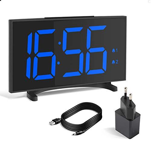 YISSVIC Réveil Numérique Réveil Digital 6,5 inches Mince LED Ecran 2 Alarmes 6 Niveaux Luminosité Réglable Fonction Snooze Formats 12/24 Heures Convient à la Maison et au Bureaux Inclus Adaptateur