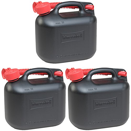 3er Set: 3x Benzinkanister schwarz 5 Liter UN Kraftstoffkanister 5 L Made in Germany !