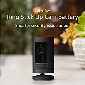 Ring Stick Up Cam Battery   HD security camera with Two-Way Talk, black, Works with Alexa
