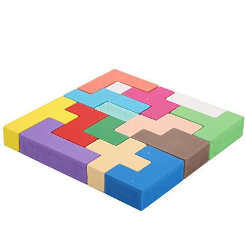 Juguete de madera del bloque del rompecabezas, Juguete del apilamiento del bloque de construcción, Apilamiento del bloque deslizante para adultos mayores(Rubik's cube puzzle building blocks)