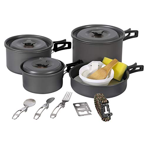 REDCAMP 23 PCS Camping Cookware Set for Family, Compact & Folding Backpacking Cookset for 4-5 Persons, Anodized Aluminum Lightweight Camping Pots and Pans Set for Camping, Hiking and Picnic