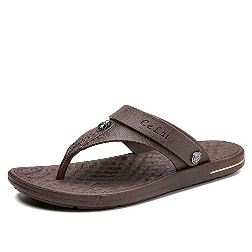 RRGG Chanclas, Sandalias de Gran tamaño para Hombre, Zapatillas de casa Resistentes al Desgaste-marrón_42, Chanclas De Masaje