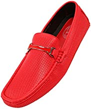 Amali Cola - Driving Moccasins for Men – Mens Slip On Loafers, Moccasins, Slip-on Dress Shoes - Driving Loafers with Matching Color Bit, Red, Size 13