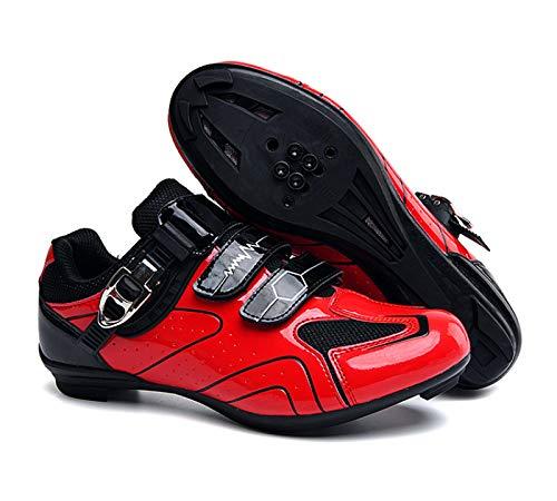 AGYE Calzado de Ciclismo Hombre, Zapatos De Bicicleta De Carretera para Hombres Zapatos De Ciclismo para Mujeres Zapatos Giratorios Bloqueo Antideslizante para Adultos,Red-38