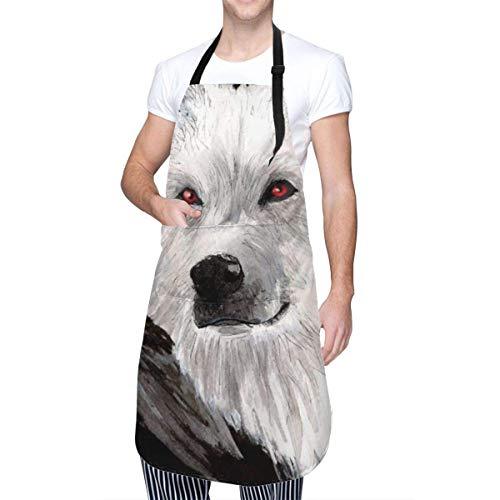 Aeykis Krähen und Wölfe Männer Frauen Latzschürze mit Tasche & verstellbaren Krawatten Traumraum Malerei Küche Chef Schürze Küchenschürze zum Kochen, Backen, Basteln, Gartenarbeit
