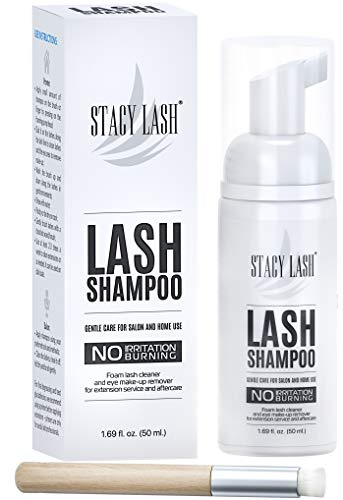 Eyelash Extension Shampoo Stacy Lash + Brush / 50ml / Eyelid Foaming Cleanser/Wash for Extensions and Natural Lashes/Paraben & Sulfate Free Safe Makeup & Mascara Remover/Professional & Self Use
