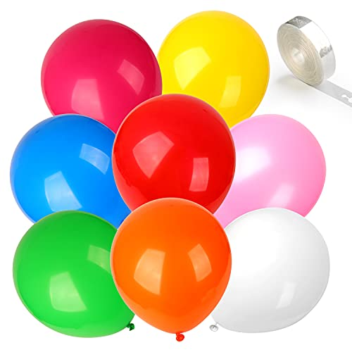 Coogam 100Pcs Balloons Rainbow Color Assorted with 16ft Ballon Tape Strips, Latex Balloon Garland Arch Strip Kit for Party Supplies Wedding Birthday Baby Shower DIY Decoration (12 Inches)