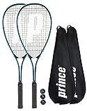 2 x Prince Power Shark Ti Raqueta de squash + Covers + 3 Squash Balls