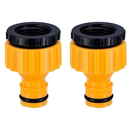 Topways Conector de Grifo a Manguera de Plástico, 3/4 Pulgadas y 1/2 Pulgada BSP Dos en Uno 2in1 Plástico Adaptador de Grifo roscado Exterior Conector de Manguera Graden Tap Connector 2 Pieza