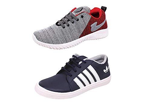 SPOTEK Boy's Multicolour Mesh Smart Sneakers (11) Combo of 2