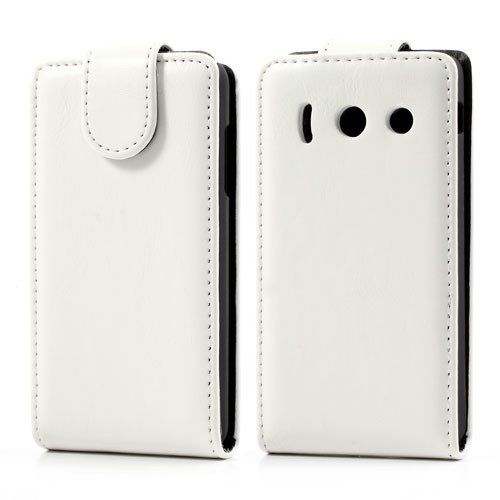 jbTec® Flip Case Handy-Hülle passend für Huawei Ascend Y300 - Weiß - Schutz-Hülle Handy-Tasche Cover