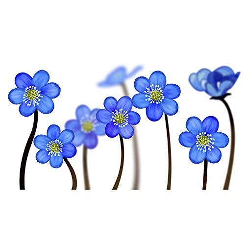 U/N YOJA 22.8 * 12.5CM Blue Flowers Home Decoration Wall Decal Bathroom Toilet Sticker T1-0377