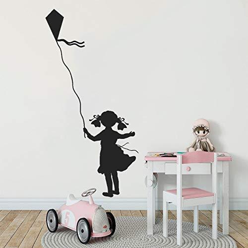 YuanMinglu Drachen fliegen Wandaufkleber Aufkleber niedlichen Mädchen Silhouette Design Mädchen zu Hause Raumdekoration 57x111cm