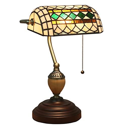 Tiffany Stile Lampada da banchiere Vintage Barocco Vetro Colorato Lampada da tavolo 10 Pollici Fatto a mano Paralumi con Interruttore a Catenaccio per Camera da Letto Soggiorno Sala Studio