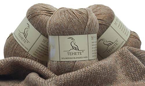 TEHETE Ovillo de lana, Hilados lana merino, 3 Bolas x 50g, Hilo para manta,suéter calcetín, bufanda, diy, ganchillo y tejido-Moca