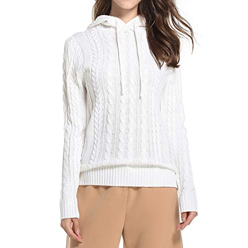 Zytyeu Women Sweater Women Knitwear Elegant Chic Sweet Pure Color Classic Autumn Long Sleeve Fashion Casual Loose Comfortable Winter New Women Top White. M