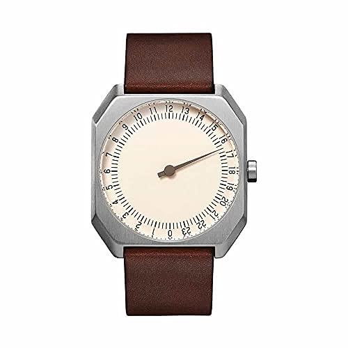 Slow Jo 17 - Reloj suizo unisex de 24 horas plateado, con correa de cuero marrón oscuro vintage
