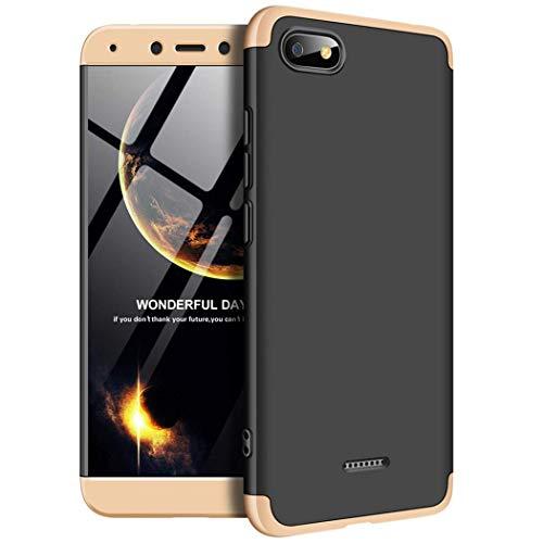 Kit Capa Capinha Anti Impacto 360 Para Xiaomi Redmi 6a Tela 5.45- Case Acrílica Fosca Acabamento Macio Com Película De Vidro Temperado - Danet (Preta Com Dourado)