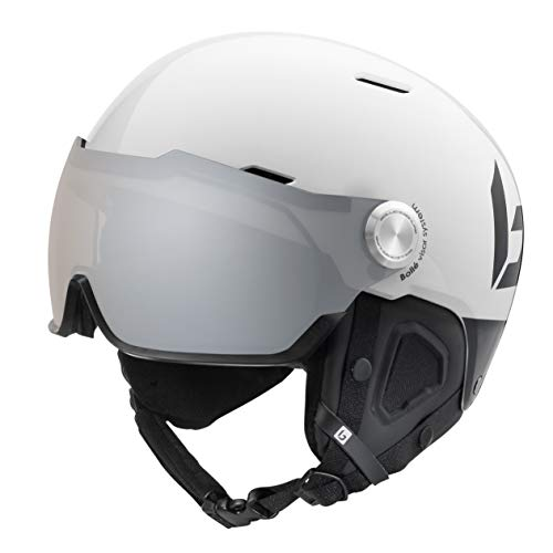 Bollé Might Visor Skihelm, unisex, volwassenen, Shiny White & Black, 59-62 cm