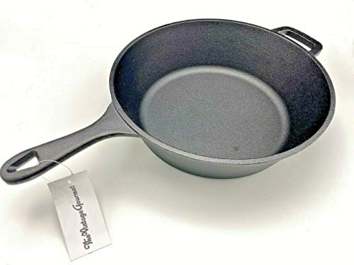 Vintage Gourmet  Authentic Pre-Seasoned 27cm Diameter Cast Iron Deep Skillet Frying Pan- with Helper Handle - Overall Length 42cmpan is 8cm (80mm) deep !! - Oven Safe, Grill, Stove Top