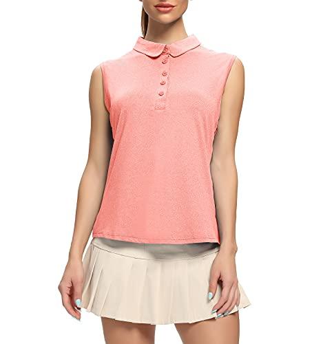 WOWENY Camiseta sin Mangas Mujer, Camisa Polo Mujer sin Mangas Deporte Verano Transpirable Golf Tops para Tenis, Golf, Fitness Rosa M