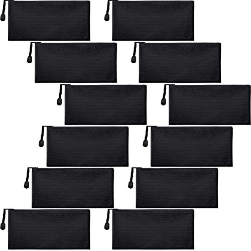 12 Pieces Zipper Waterproof Bag Pencil Pouch for Cosmetic Makeup Office Supplies and Travel Accessories (Black)