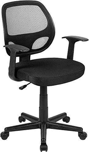 Flash Furniture Flash Fundamentals Mid-Back Black Mesh Swivel Ergonomic Task Office Chair with Arms